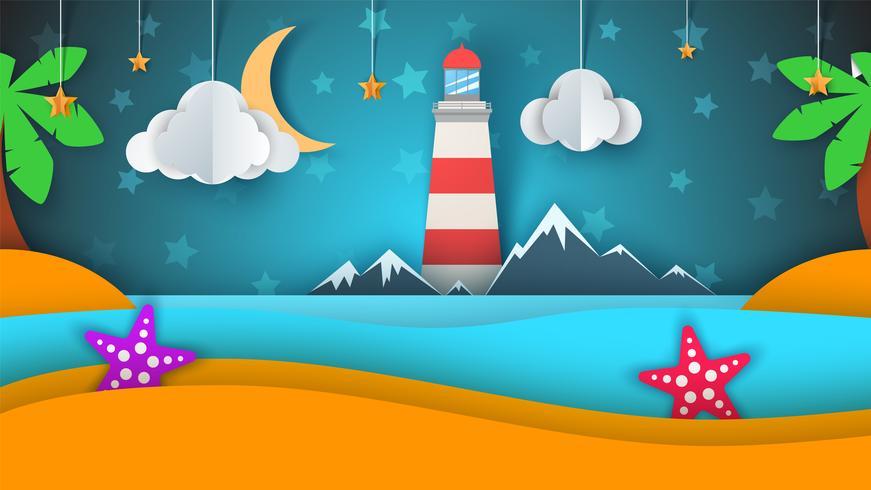 Isla de papel de dibujos animados. Playa, palmera, estrella, nube, montaña, luna, mar.