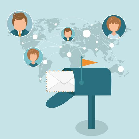 Socialt nätverk och global kommunikationskoncept