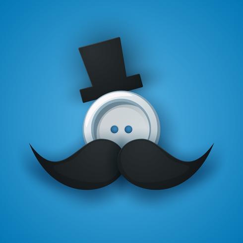 Chapeau, moustache, moustache, bouton à coudre. vecteur