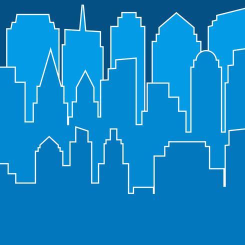 Stilvolles blaues modernes Stadtschattenbild in der Linie Kunst