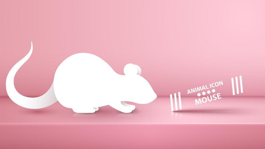Rata animal, ilustración del ratón en el estudio rosado. vector