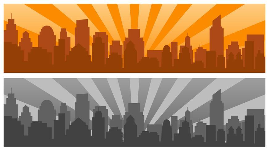 Nascer do sol e cidade moderna silhueta em estilo pop art, duas cores