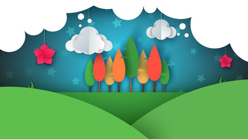 Paisagem de papel dos desenhos animados. Árvore, flor, colina, nuvem, estrela.