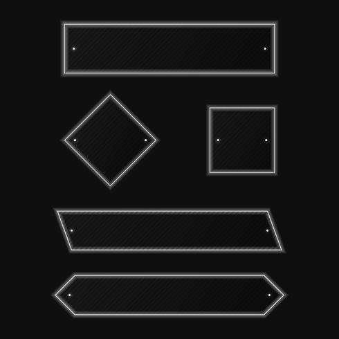 Minimes formes géométriques simples avec néon blanc led isolé sur fond noir vecteur