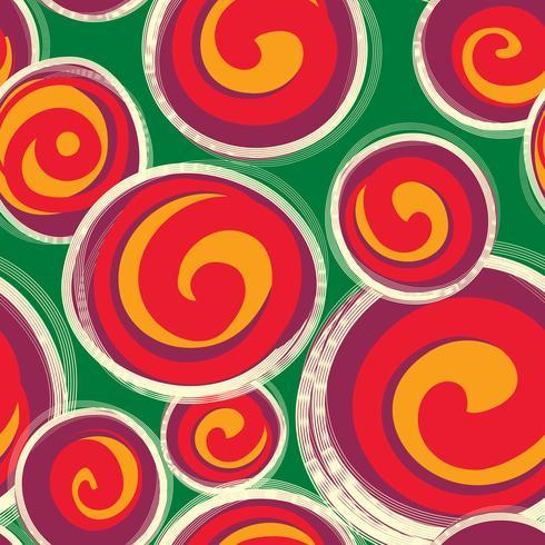 Modèle abstrait avec des formes de forme ronde dans un style rétro. Sans couture vecteur