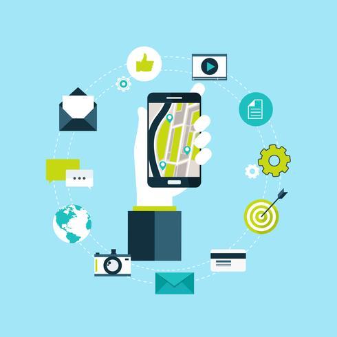 Smart telefonnavigering, mobilt globalt positionssystem och spårningskoncept. Placeringsspårapp på pekskärms smart telefon, på världskarta bakgrund
