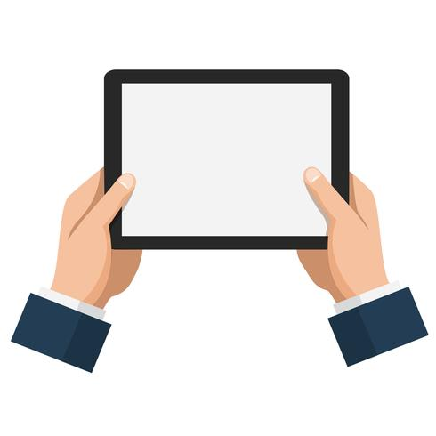 Businessman hold tablet with empty white screen