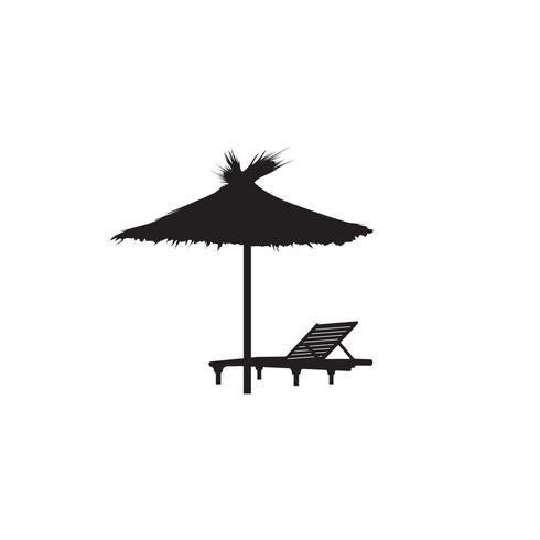 Deck chair umbrella summer beach holiday symbol icon. vector