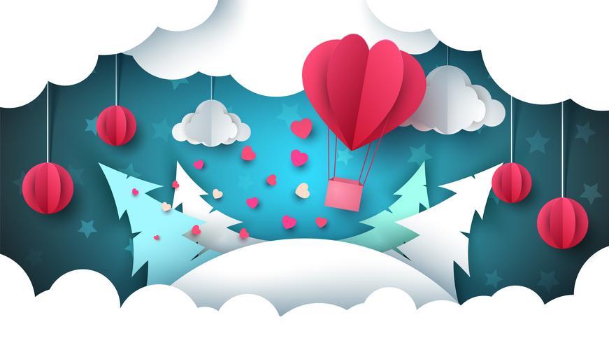 Illustrazione di San Valentino. Paesaggio invernale Mongolfiera, abete, nuvola, stella.
