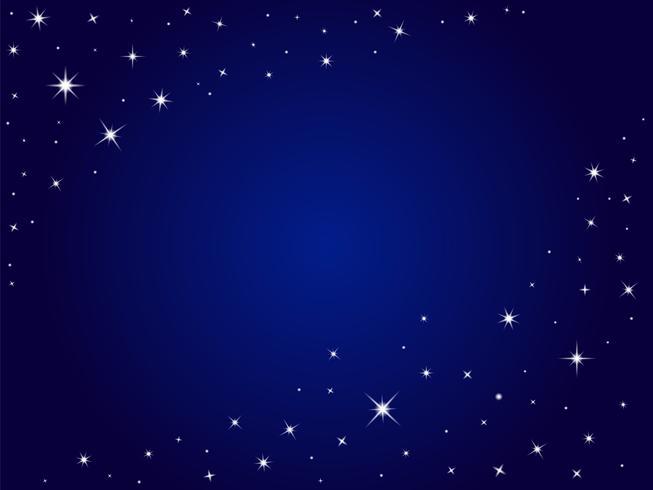 Espacio azul estrellas vector fondo, cielo nocturno