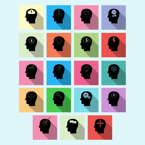 Vector set of brain activity icons with long shadow