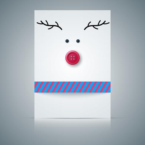 Cartão postal, veado, botão de costura.