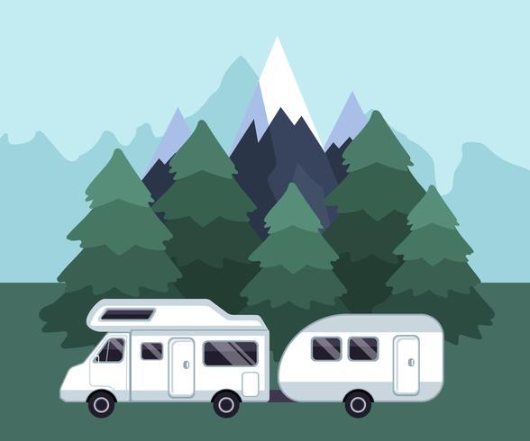 Camping resa landskap. Campingvagn på en campingplats