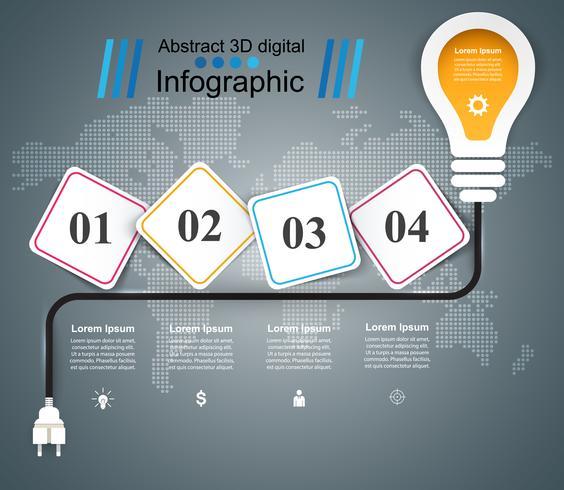 Buld, léger - infographie de l'entreprise de papier. vecteur
