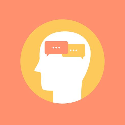 Human mind icon ,communication concept flat style