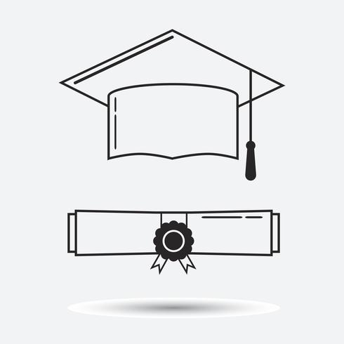 Graduation hat and graduation certificate linear icon vector