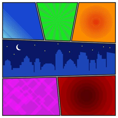Comic book page template with radial backgrounds and night