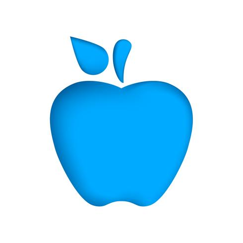 Paper apple on the blue background.