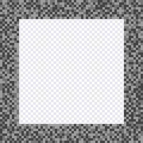Quadro de pixel monocromático, bordas vetor