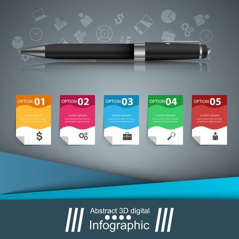 Pen, onderwijs pictogram. Zakelijke infographic.