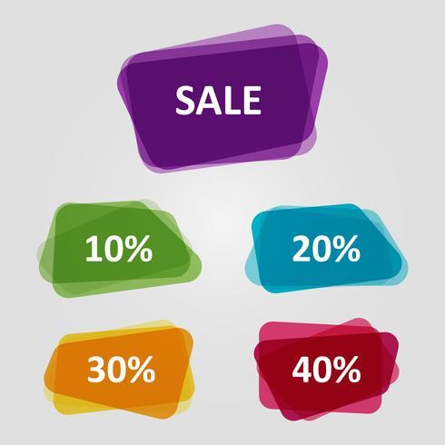 Vecteur série de bannières colorées de vente OFF