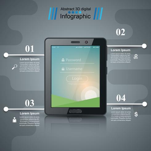 Zakelijke infographic. Digitaal tabletpictogram.