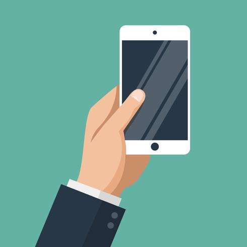 Hand av affärsman med vit smartphone