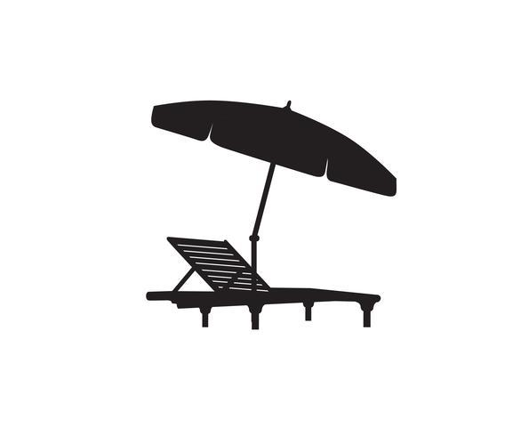 Chaise longue parasol été plage vacances symbole symbole. vecteur