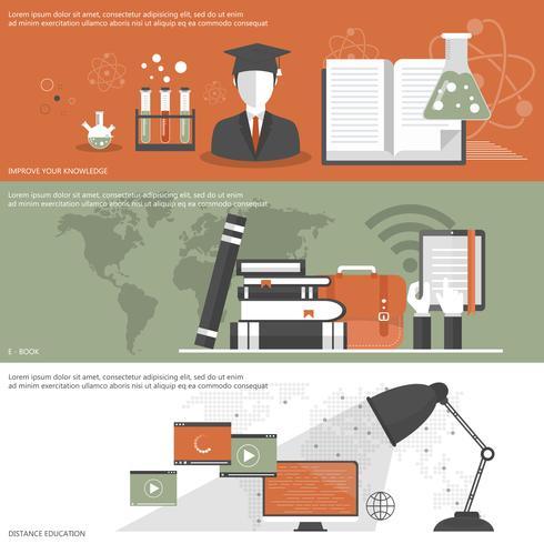 Banner di educazione. Apprendimento on line, tutorial, formazione professionale