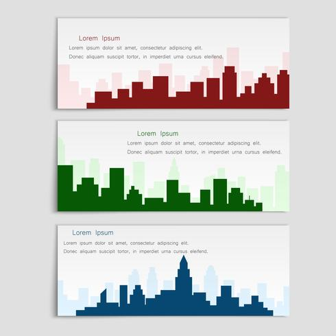 Vector conjunto de banners con siluetas de la ciudad, estilo plano