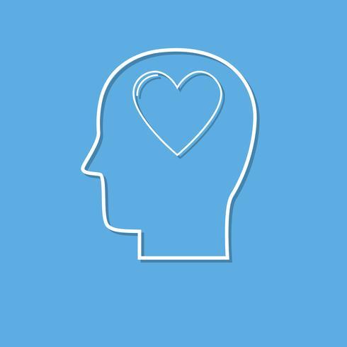 Menselijk hoofd met hart pictogram, liefde symbool gesneden uit het Witboek
