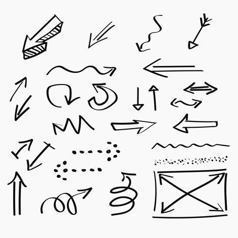 Pijlen hand-drawn pictogrammen en abstract krabbel het schrijven ontwerp vector