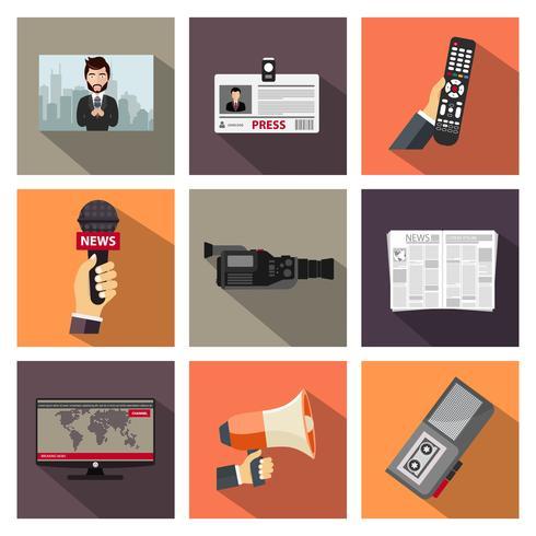 Conjunto de iconos de periodismo