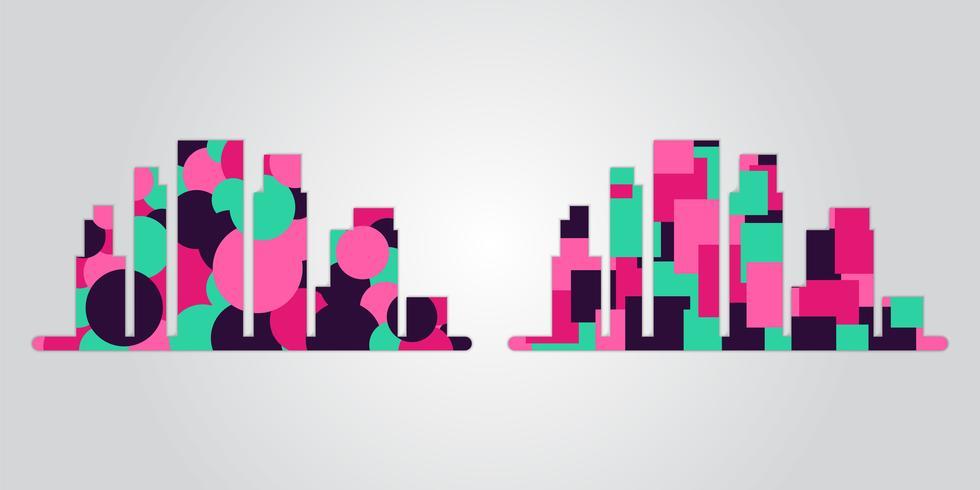Insieme di vettore delle siluette della città con forme geometriche di movimento alla moda, colori vivaci