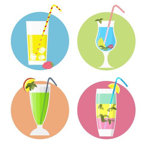 Conjunto de iconos de cócteles, estilo plano