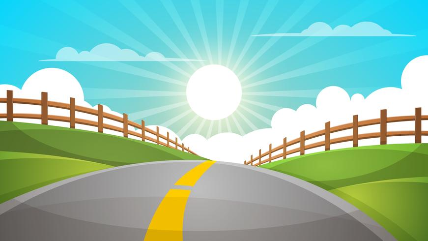 Cartoon hill landscape. Road, travel illustration, fence. vector
