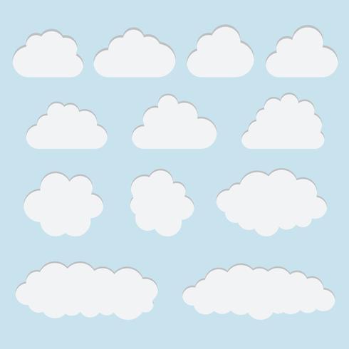 La raccolta di carta bianca ha tagliato le icone della nuvola, i segni, simboli del tempo