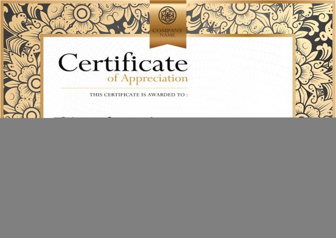 Modèle de luxe de vecteur de certificat