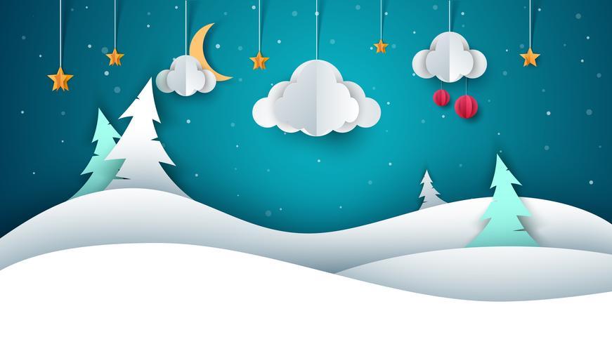 Winter landscape - paper illustration.