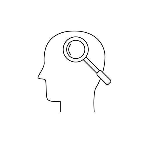 Cabeça humana e lupa, ícone de linha fina