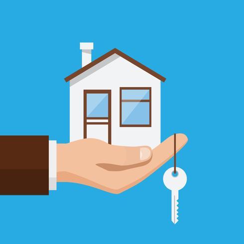 Onroerende goederenaanbieding, zakenman die een huis en een sleutel houden