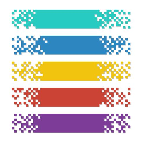 Ensemble de bannières web couleur pixel abstrait avec des ombres pour les en-têtes vecteur