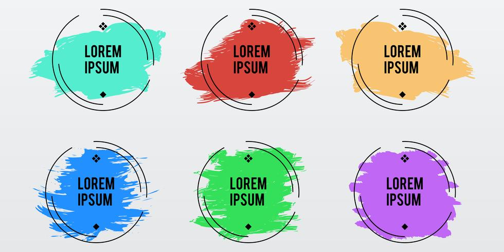 Set of round frames with brush stroke on pastel colors vector