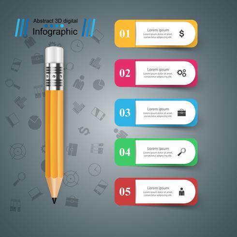 Lápiz, icono de la educación. Infografía de negocios. vector