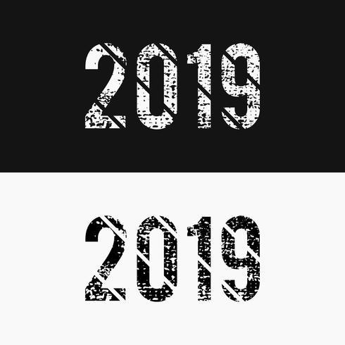 Monochrome abstrait numéro 2019 style grunge, noir et blanc