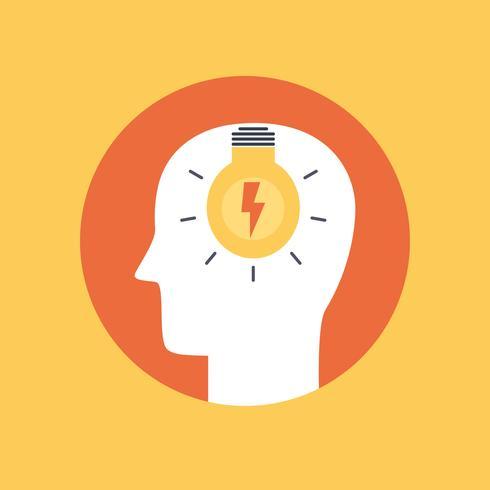 Färgad symbol för brainstorm platt stil