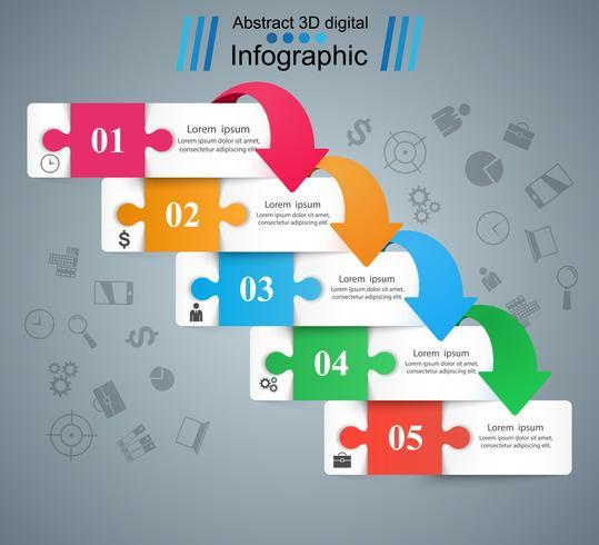 Puzzle infografía de negocios. Cinco artículos de papel. vector