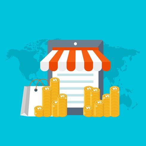 Tienda web y concepto de compra on line. Comunicación global, banca por internet, comercio, comercio electrónico, hacer dinero.
