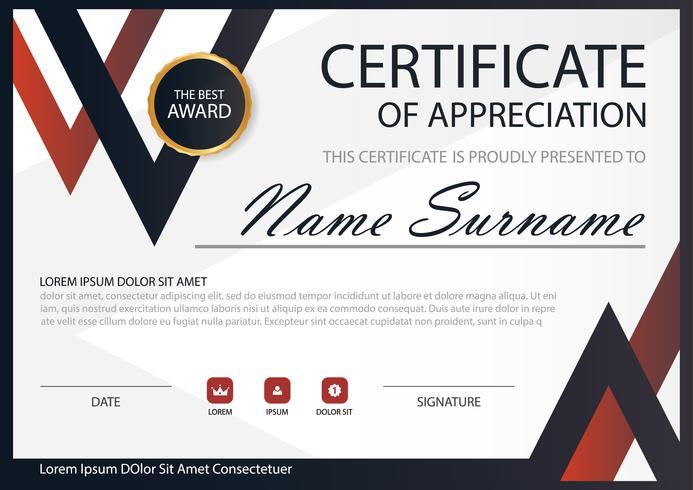 Horizontales Zertifikat der roten schwarzen Eleganz mit Vektorillustration, weiße Rahmenzertifikatschablone mit sauberer und moderner Musterdarstellung