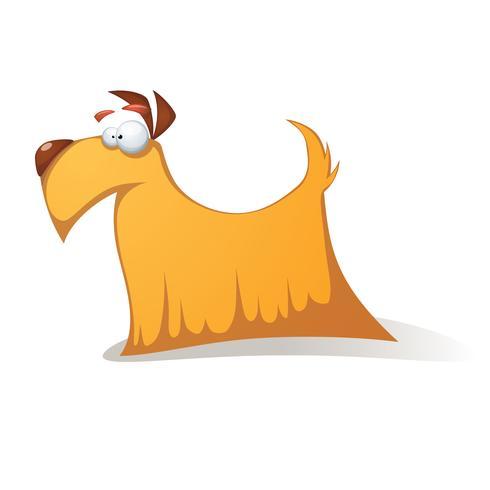 Perro amarillo loco - personajes de dibujos animados divertidos. vector
